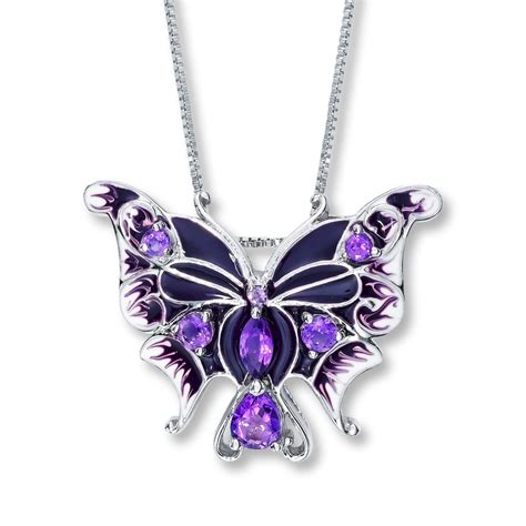 butterfly necklace amethyst sterling silver