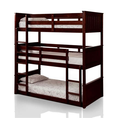 Furniture Of America Rigson Plank Style Space Saving 3 Tier Bunk Beds
