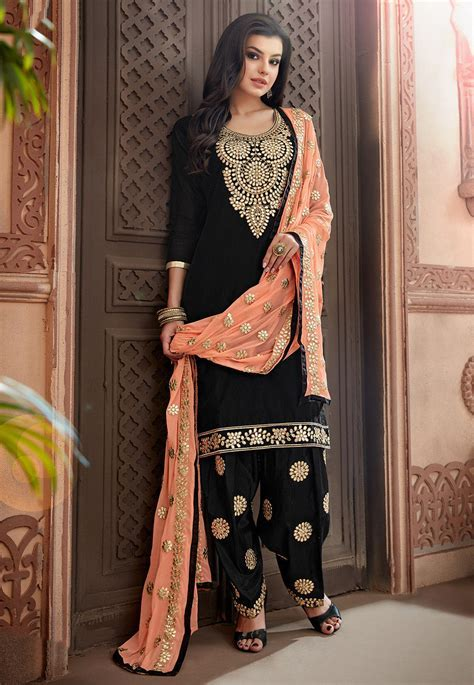 Embroidered Chanderi Silk Punjabi Suit in Black : KCH1059