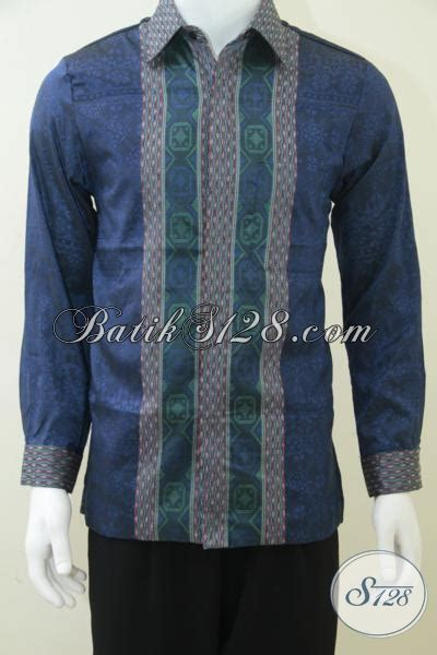 Baju Tenun Asli kemeja tenun asli timbul bahan viscose warna biru