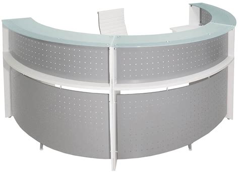 half reception desk white 180 176 half curved glass top reception desk