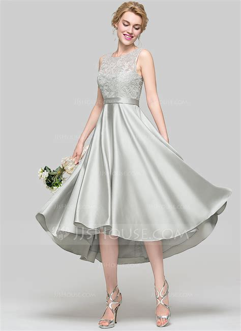 Wedding Dress Jjshouse by A Line Princess Scoop Neck Asymmetrical Satin Bridesmaid