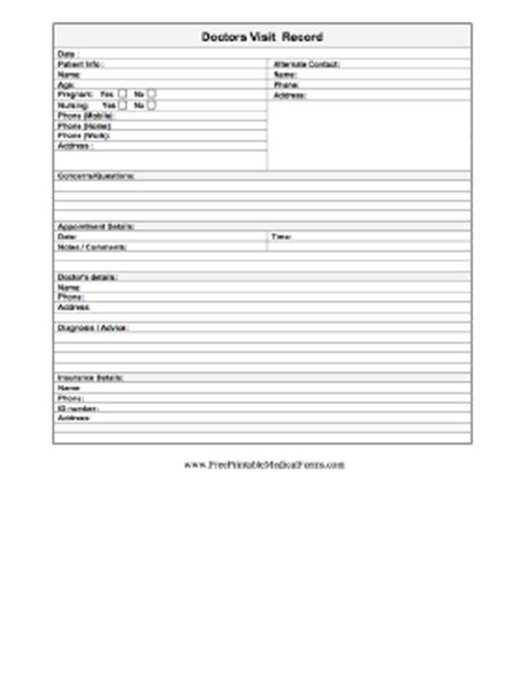 Doctor Visit Form Template Printable Doctor S Visit Record