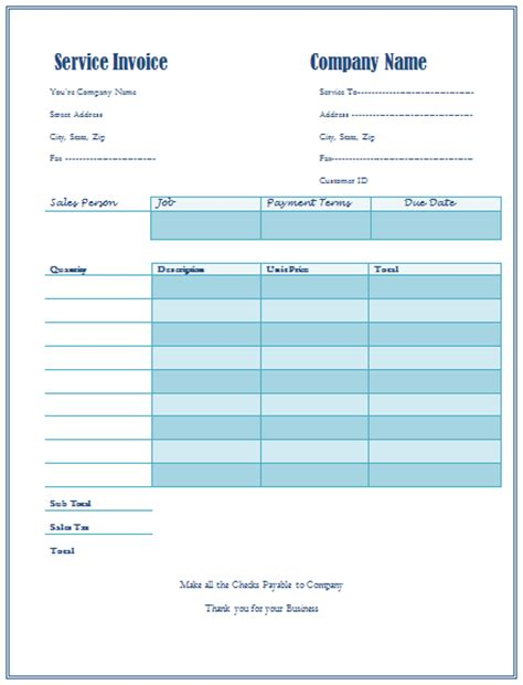 service template excel invoice service template hardhost info