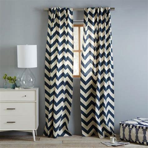 chevron drapes cotton canvas zigzag curtain blue lagoon west elm