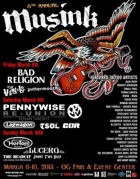 nyc tattoo music festival win a pair of passes to musink tattoo music fest la