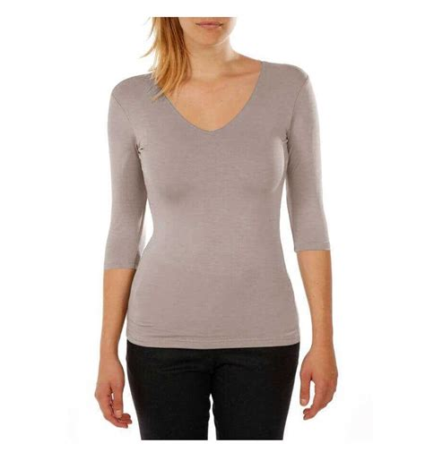 V Neck 3 4 Sleeve T Shirt t shirt viscose stretch three quarter sleeves