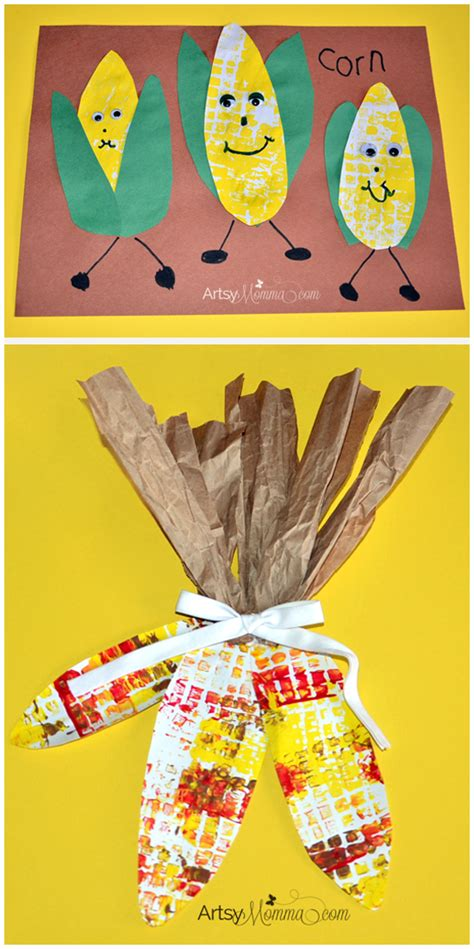 november craft ideas for indian corn door decoration and corn on the cob