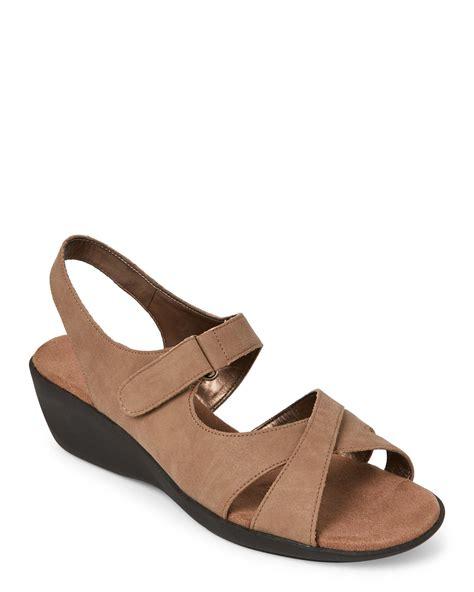 aerosoles taupe bad advertisement wedge sandals in brown