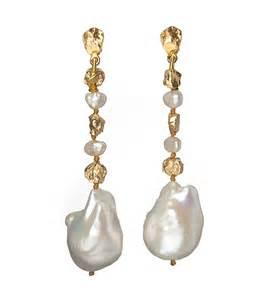 drop earrings pearl and gold drop earring earrings luxury jewellery
