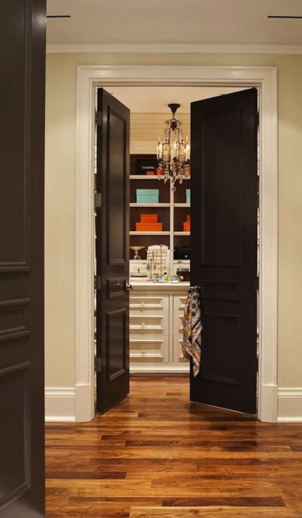 Black French Doors Transitional Closet House Home Walk In Closet Door