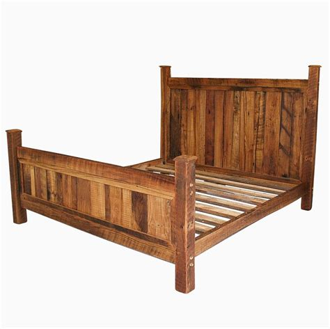 Handmade Bed - buy a handmade cabin style reclaimed wormy chestnut bed