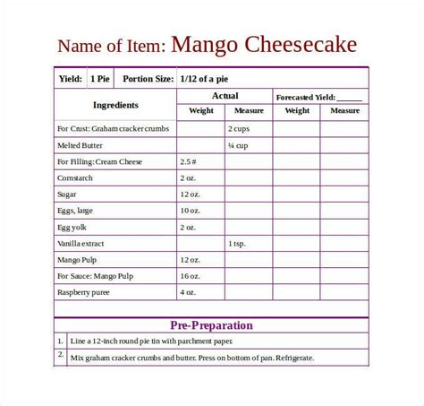 standard recipe card template futura recipe template dc design