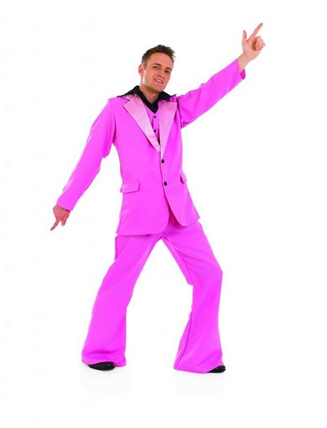 mens pink disco king fancy dress costume 70s pink