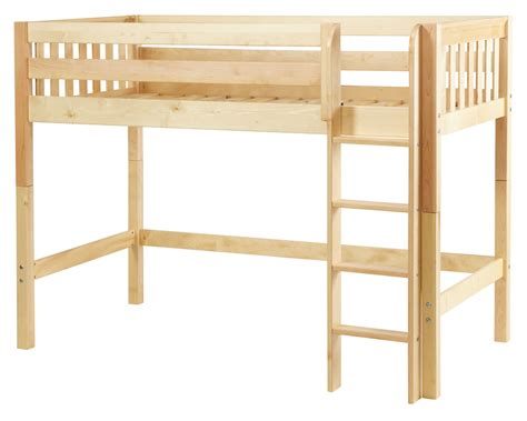 bunk bed height maxtrix mid height loft bed w straight ladder twin size