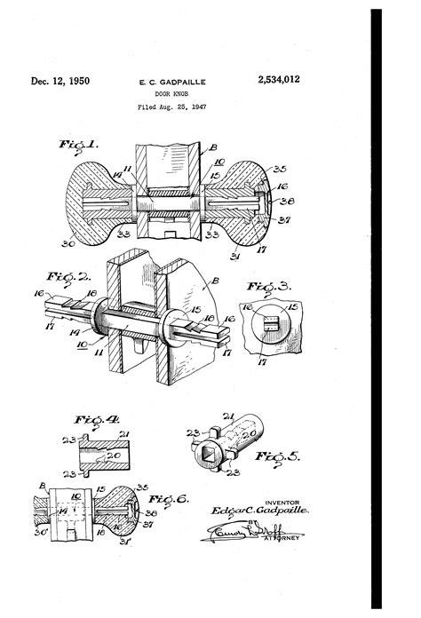 Who Invented Door Knobs by Patent Us2534012 Doorknob Patents