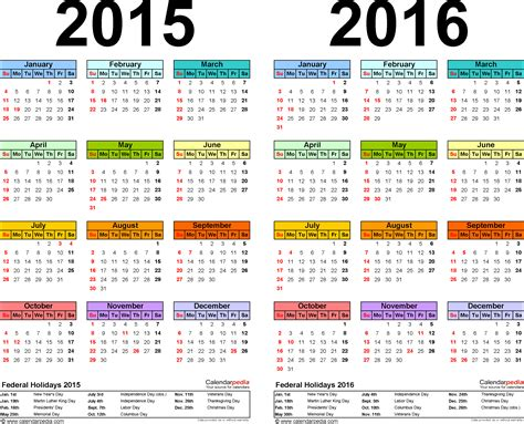 2015 And 2016 Calendars 2015 2016 Calendar Free Printable Two Year Excel Calendars