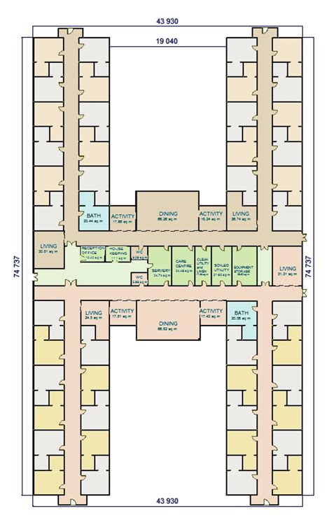 Nursing Home Layout Design W A Benbow 187 Dementia Design H Shape Facility Layout