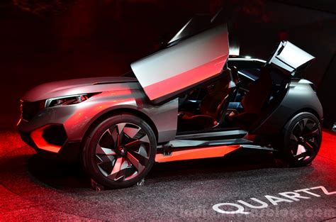 peugeot quartz side peugeot quartz side view door open at the 2014 paris motor