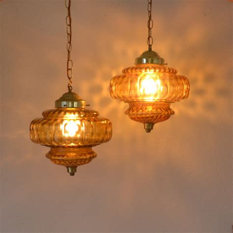 Hanging Swag Ls Orange Glass Vintage 1960s Retro Swag Lights
