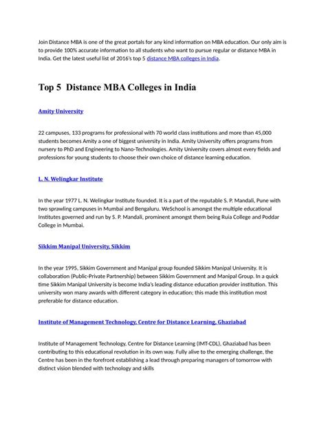Mba Ppt Topics by Ppt Top Five Distance Mba Colleges In India For 2016