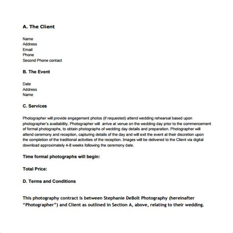 14 Wedding Photography Contract Templates To Download Sle Templates Wedding Photography Email Templates