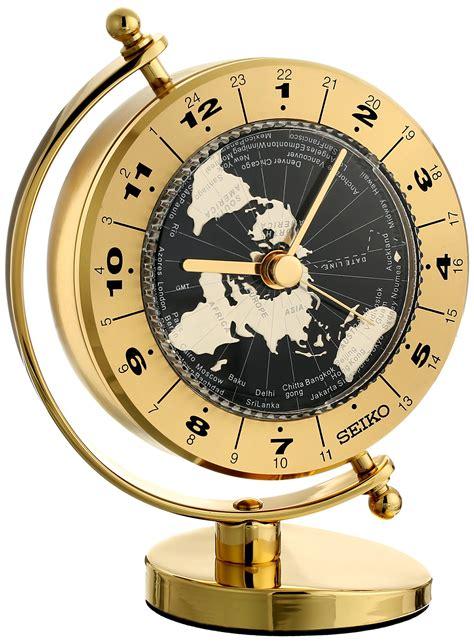 seiko brass desk clock seiko desk and world time clock solid brass case ebay