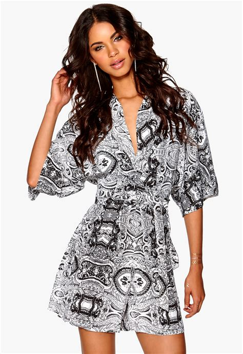 kimono playsuit pattern make way manon playsuit black white pattern bubbleroom