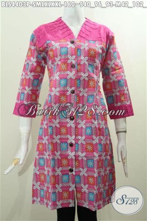 Kain Batik Wayang Katun Embos baju blus trendy warna pink dengan bahan perpaduan kain