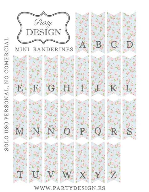 free printable mini bunting letters imprimibles gratis de banderitas abecedario flores vintage
