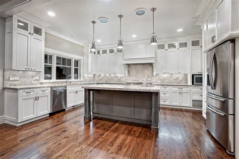 White Kitchen Island Granite Top Macavoy Modern White Kitchen Griffin Custom Cabinets