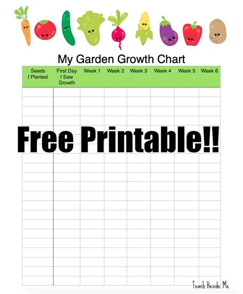 printable children s growth chart garden growth chart teach beside me