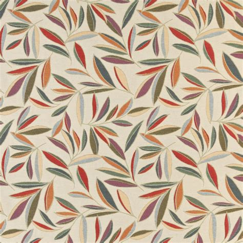 upholstery fabric leaves red orange gold green and blue leaves upholstery