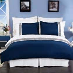 Blue And White Bed Set Quot Astrid Quot Navy Blue And White Embroidered 3 Duvet Cover Set
