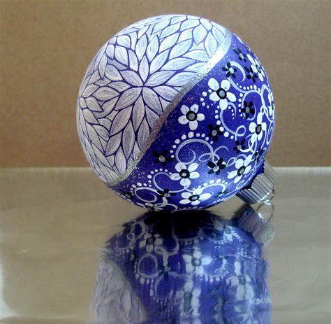 painted christmas balls purple white painted ornament