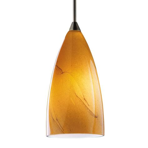 Shop Kendal Lighting 7 In H 4 In W Amber Swirl Art Glass Pendant Light Glass Shades