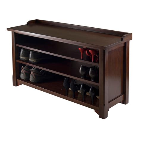 bench cabinet storage amazon com winsome dayton storage hall bench with shelves