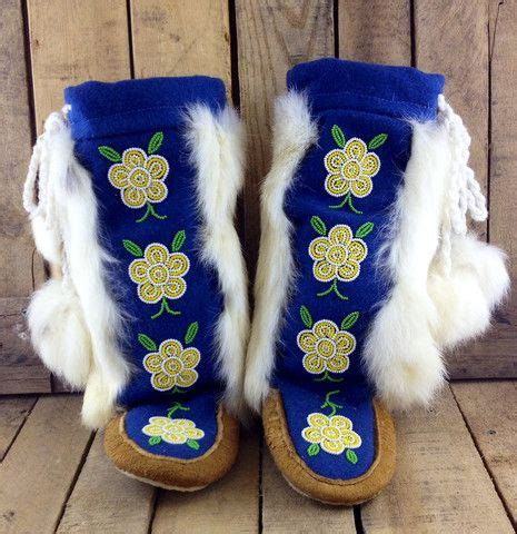 Handmade Mukluks - yellow and white beaded flowers on tanned moose hide