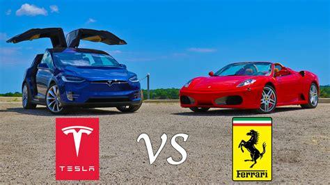 Tesla Vs Top Gear Drag Race Tesla X P90d Vs F430 Spider