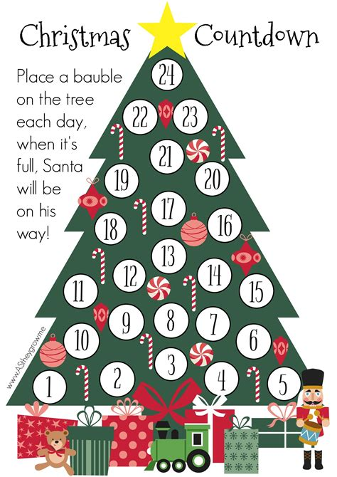 Printable Christmas Tree Countdown | crafty christmas countdown free printable as they grow