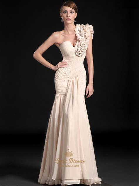 One Shoulder Ruffle Chiffon Dress chagne mermaid one shoulder ruffle chiffon prom dresses