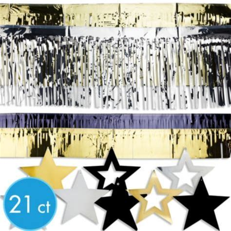 paper fans city black gold silver years paper fan decorations 6ct
