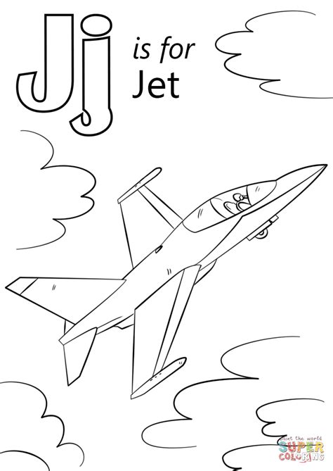 letter j is for jet coloring page free printable