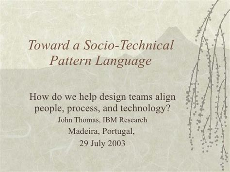 a pattern language of call processing toward a socio technical pattern language