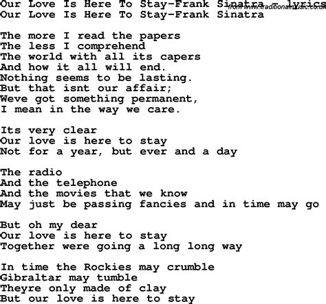stay by me testo song lyrics for our is here to stay frank sinatra
