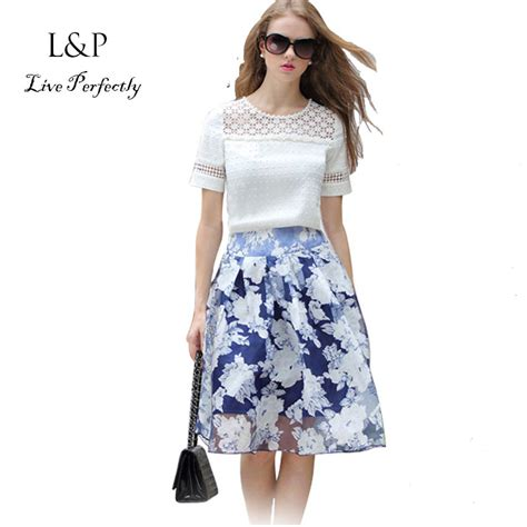 White Lace Skirt And Blouse by Two Pieces Set 2015 Summer Fashion Sleeve