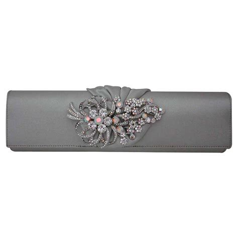 Clutch Original Swarovski silver satin clutch purse handbag with swarovski crystals