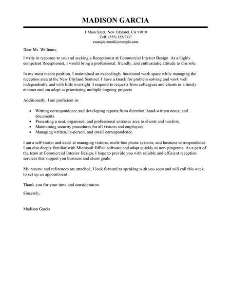 Cover Letter For Fashion Receptionist Best Receptionist Cover Letter Exles Livecareer