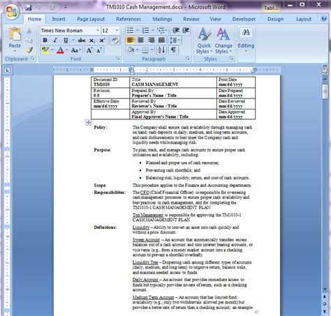 Cash Management Policy Procedure Liquidity Policy Template