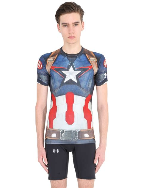 T Shirt Kaos Nike Captain White lyst armour captain america compression t shirt in